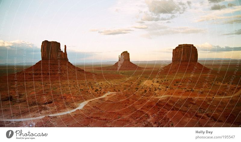 Nature Summer Clouds Loneliness Freedom Mountain Landscape Sand Lanes & trails Warmth Brown Earth Rock USA Desert Hill