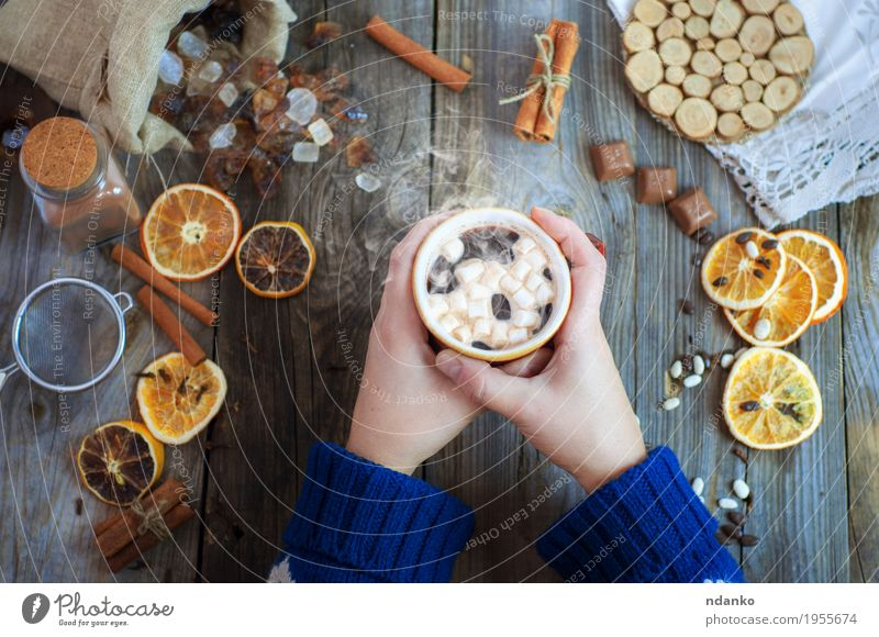 Cup of coffee with sweets Fruit Dessert Candy Breakfast Beverage Hot drink Hot Chocolate Coffee Mug Winter Table Woman Adults Arm Hand 1 Human being