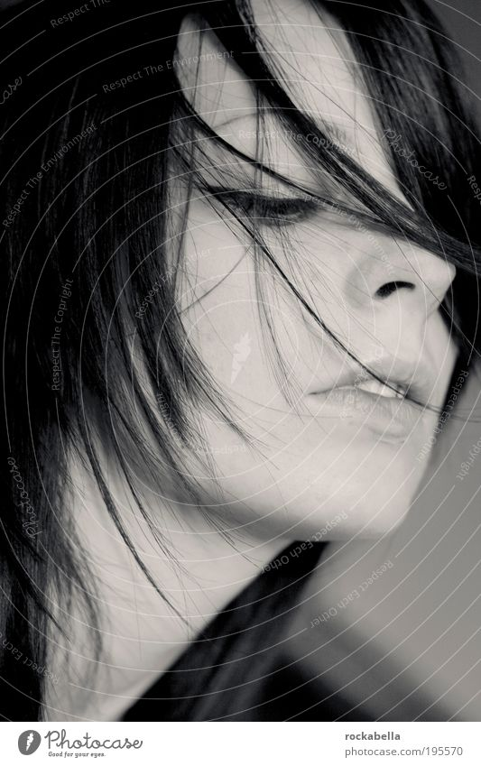 Portrait woman Feminine Young woman Youth (Young adults) Black-haired To enjoy Dream Esthetic naturally Secrecy Sympathy Emotions Senses Black & white photo