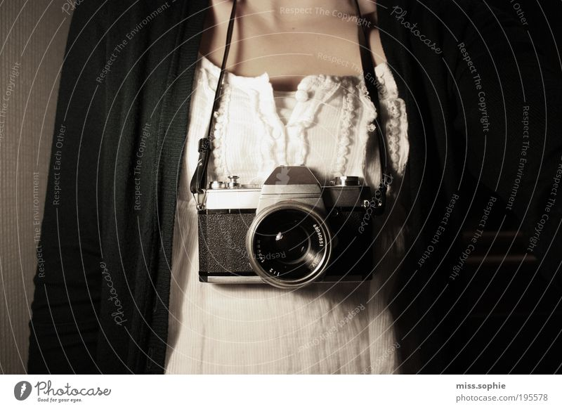 Beautiful White Black Feminine Photography Skin Camera Observe Historic Top Hang Human being Necklace Textiles Cardigan Collector's item
