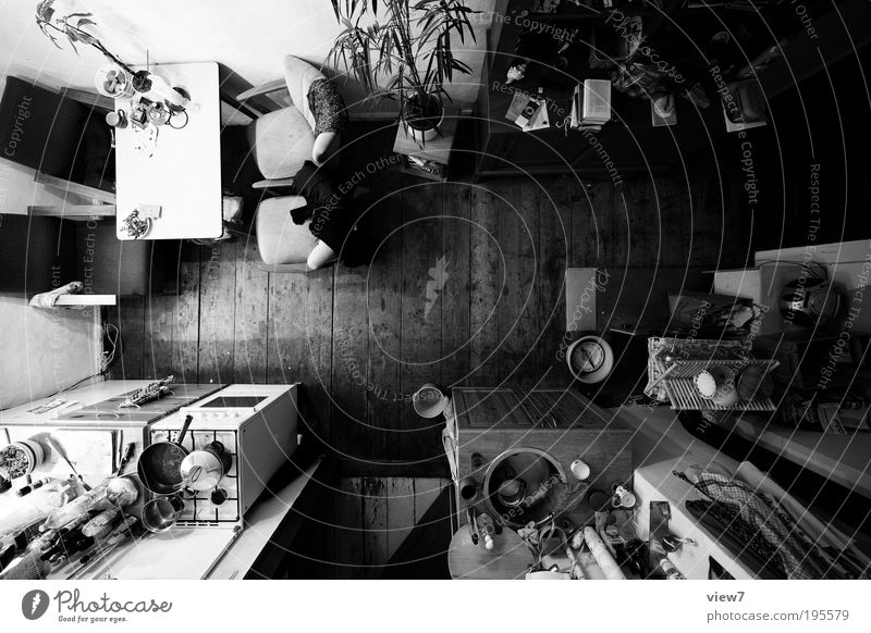 Dark Above Wood Stone Line Room Flat (apartment) Design Large Perspective Arrangement Esthetic Kitchen Authentic Simple Black & white photo