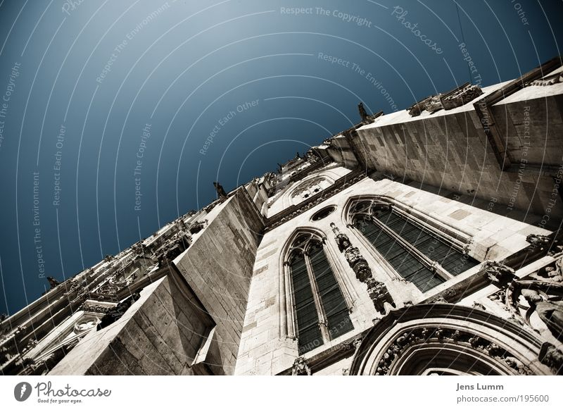 St. Peter Sky Cloudless sky Summer Church Dome Old Blue Belief Humble Religion and faith Regensburg Facade Window Archway Colour photo Exterior shot Deserted