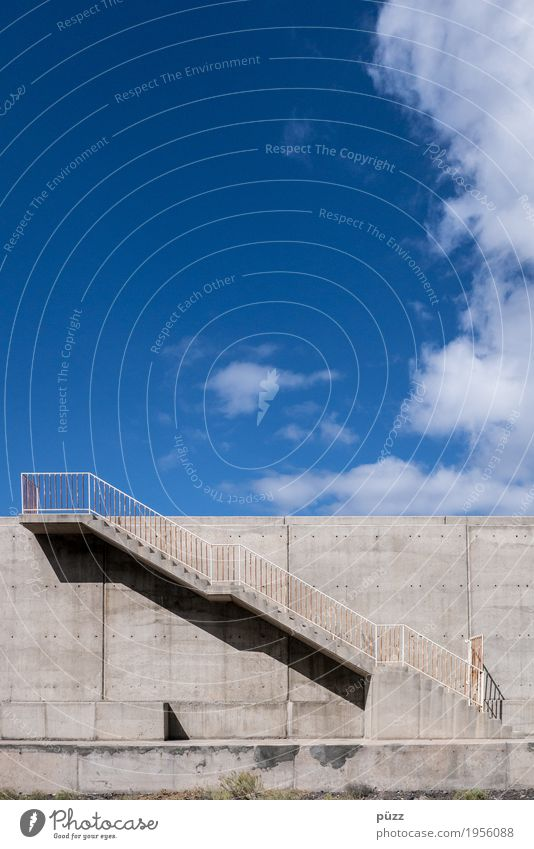 Stairway to heaven Sky Clouds Deserted Harbour Architecture Wall (barrier) Wall (building) Stairs Pedestrian Street Lanes & trails Maritime Blue Gray Success
