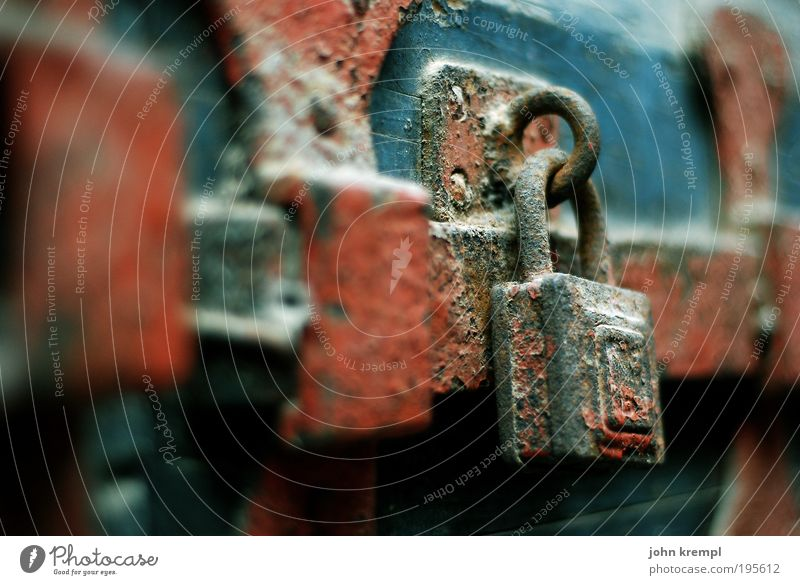 chastity belt Door Door lock Locking bar Gate Entrance Old Dark Historic Blue Brown Red Responsibility Attentive Watchfulness Sadness Concern Grief Fear Threat
