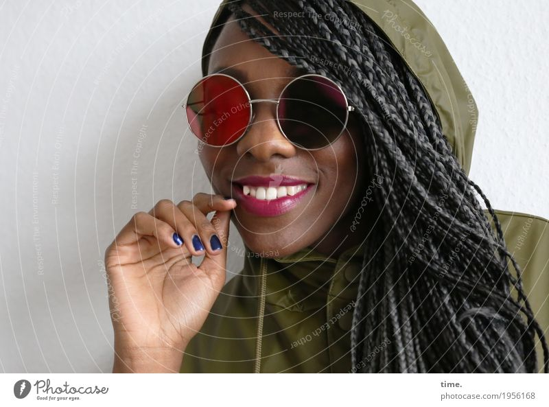 . Feminine Woman Adults 1 Human being Jacket Sunglasses Hair and hairstyles Black-haired Gray-haired Long-haired Dreadlocks Afro Observe To hold on Smiling