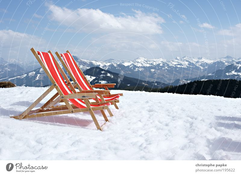 Winter Vacation & Travel Far-off places Cold Snow Relaxation Mountain Freedom Environment Tourism Lie Climate Alps Idyll Peak Sunbathing
