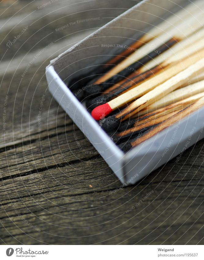 Your chance Senses Handicraft Decoration Wood Gray Red Black Match Lighter Fire Risk Loneliness Brave Burnt Chance Individual Colour photo Exterior shot