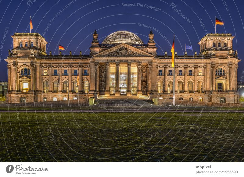 Reichstag Berlin Vacation & Travel Tourism Trip Politics and state Night sky Germany Capital city Palace Manmade structures Tourist Attraction Brown