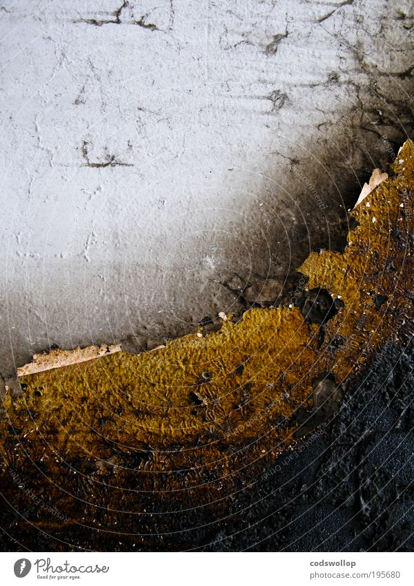 surface damage Wall (barrier) Wall (building) Navigation Concrete Dark Gloomy Abstract Structures and shapes Black Gray Gold Burnt Damage Facade Subdued colour