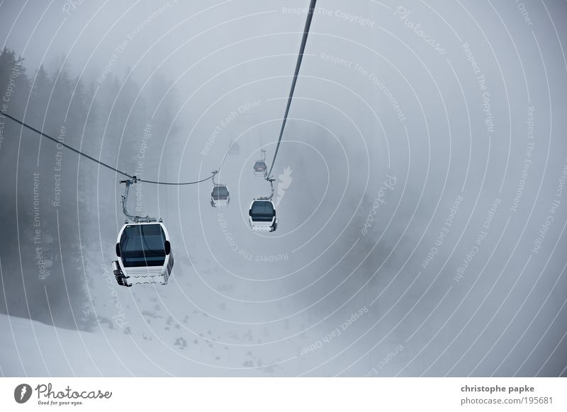 No pale haze as it is above... Leisure and hobbies Vacation & Travel Winter Snow Winter vacation Mountain Winter sports Bad weather Fog Alps Brixental Cable car