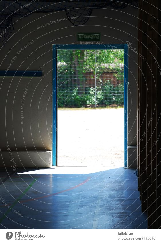where are you going out of here? Sporting Complex Door Emergency exit Hope Fatigue Longing Exhaustion Claustrophobia Fear of the future End Crisis Distress