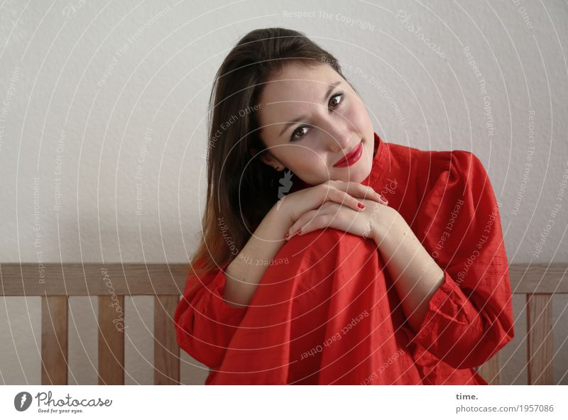 . Bench Feminine Woman Adults 1 Human being Dress Brunette Long-haired Observe To hold on Looking Sit Wait Friendliness Beautiful Red Contentment