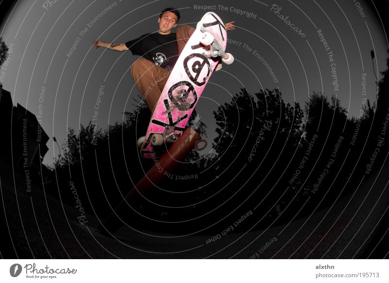Pole Jam Sports Skateboard Masculine 1 Human being 18 - 30 years Youth (Young adults) Adults Risk Skateboarding Fisheye Colour photo Subdued colour