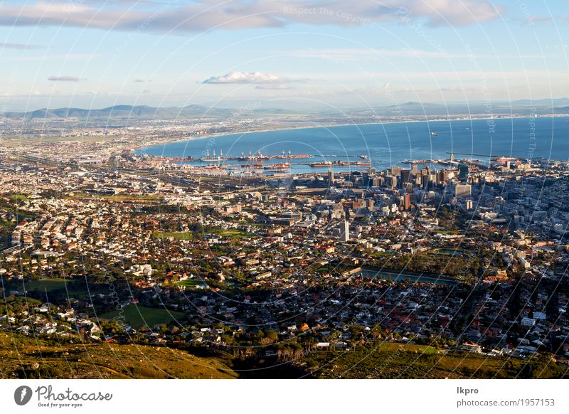 in south africa cape town city skyline from table mountain sky Sky Nature Vacation & Travel Town White Landscape Ocean Clouds House (Residential Structure)