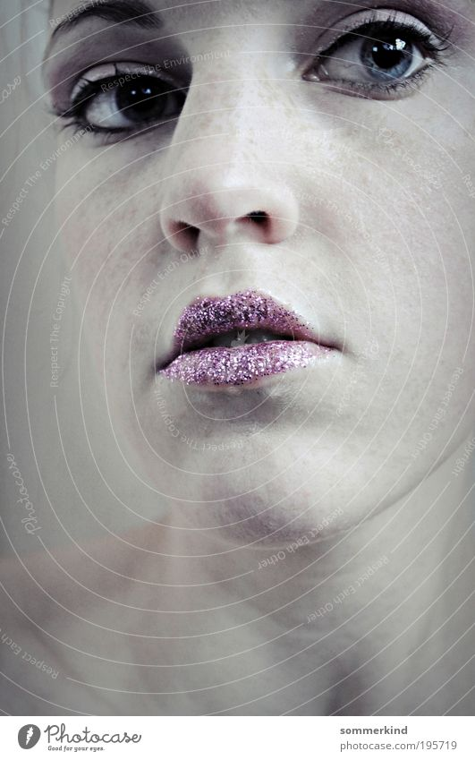Human being Youth (Young adults) Blue White Young woman 18 - 30 years Far-off places Cold Adults Face Feminine Pink Glittering Skin Nose Lips
