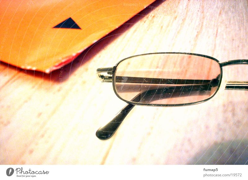 Black Wood Table Eyeglasses Letter (Mail) Envelope (Mail)