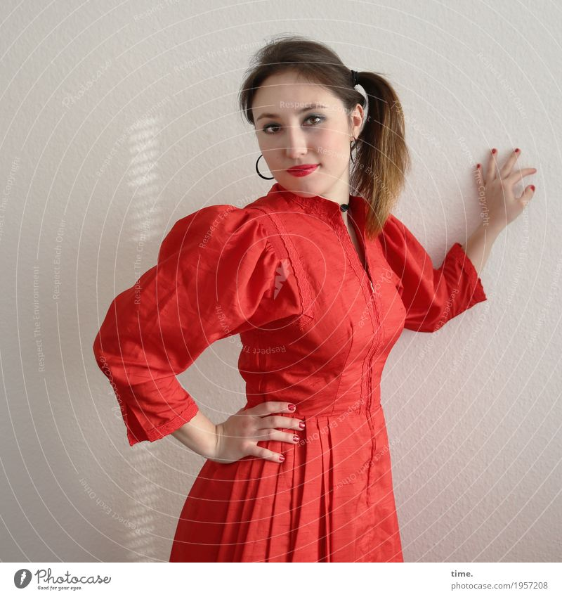. Feminine Woman Adults 1 Human being Dress Earring Hair and hairstyles Brunette Long-haired Braids Observe To hold on Looking Stand Elegant Friendliness
