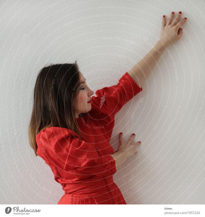 . Room Feminine Woman Adults 1 Human being Wall (barrier) Wall (building) Dress Brunette Long-haired Touch Think Relaxation Smiling Dream Esthetic Red