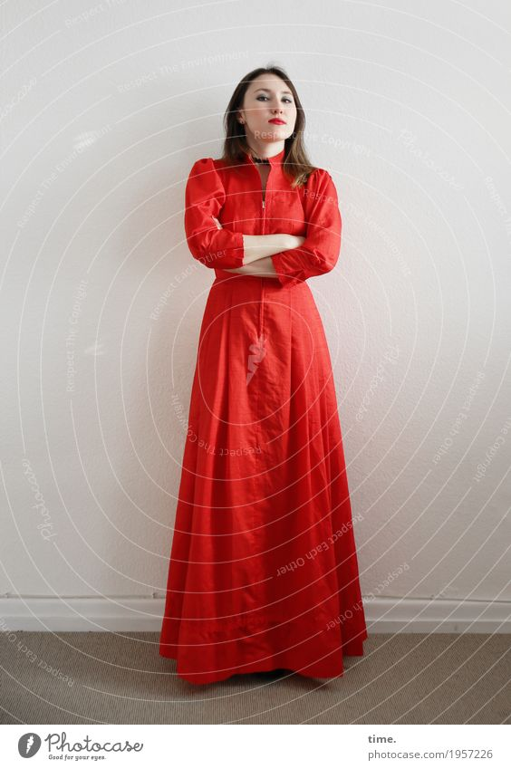 . Room Feminine Woman Adults 1 Human being Dress Brunette Long-haired Observe To hold on Looking Stand Wait Cool (slang) Beautiful Red Self-confident Willpower