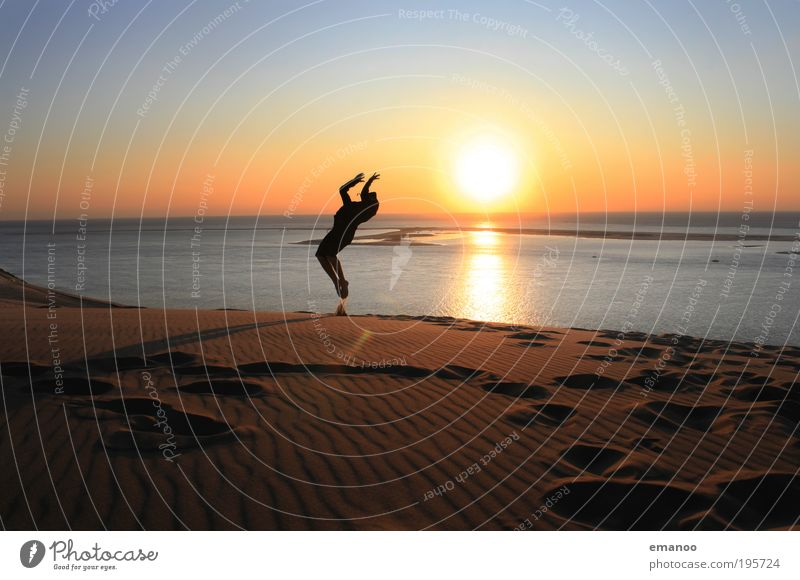 Human being Youth (Young adults) Vacation & Travel Sun Summer Ocean Joy Beach Adults Freedom Movement Jump Coast Horizon Flying Exceptional