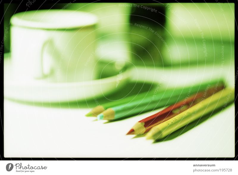 Green Red Calm Table Coffee Write Cup Pen Workplace Diligent Espresso Disciplined Conscientiously Stationery Writing utensil Furniture