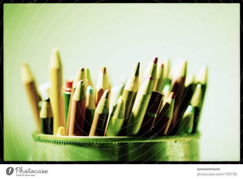 pencil box Stationery Pen Draw Multicoloured Green Drawing Colour photo Studio shot Close-up Deserted Artificial light Deep depth of field