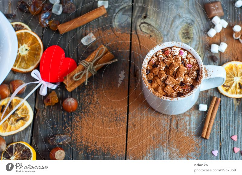 white cup with a drink on the wooden surface Fruit Dessert Candy Chocolate Herbs and spices Beverage Hot drink Hot Chocolate Cup Mug Table Sieve Wood Heart