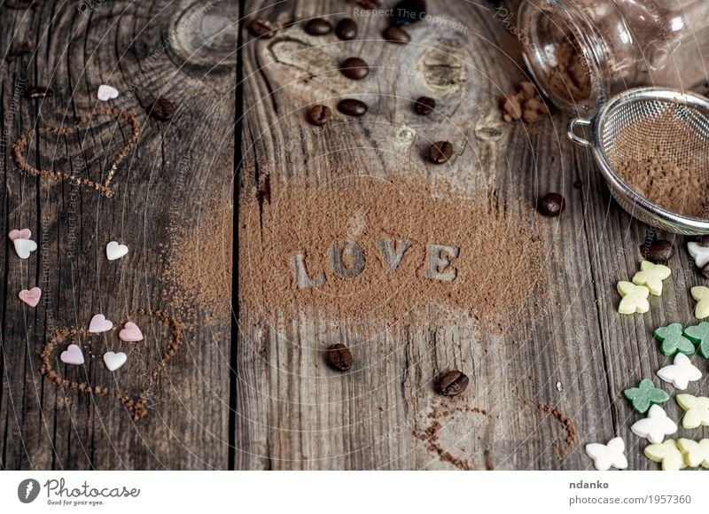 word love written on the gray wooden surface Nature Old Colour Love Emotions Natural Wood Food Brown Above Decoration Table Heart Symbols and metaphors Candy