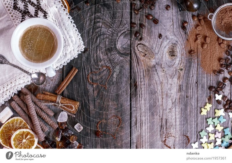 Grey wooden background with black coffee Food Fruit Dessert Candy Breakfast To have a coffee Beverage Hot drink Hot Chocolate Coffee Espresso Mug Spoon