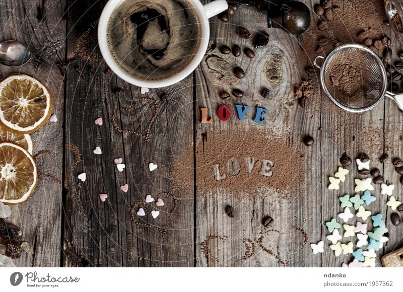 Coffee and an inscription love the gray wooden surface Fruit Dessert Drinking Hot drink Hot Chocolate Espresso Cup Mug Feasts & Celebrations Wood Heart Old