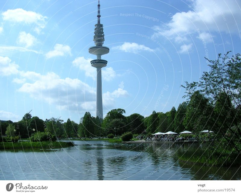 Oasis of peace Lake Clouds Flower Terrace Calm Park Hamburg Plant Television tower Hamburg TV tower