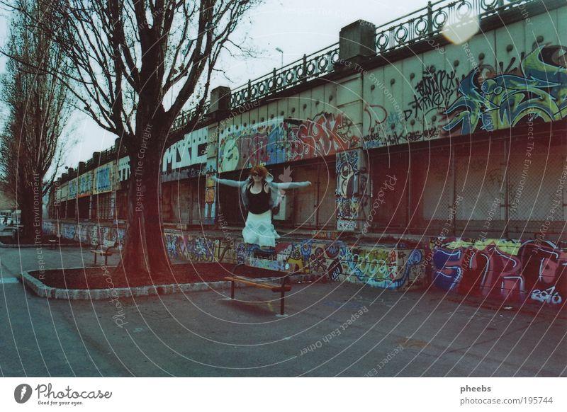 Woman Tree Sun Graffiti Jump Free River Asphalt Analog Vienna Austria Human being