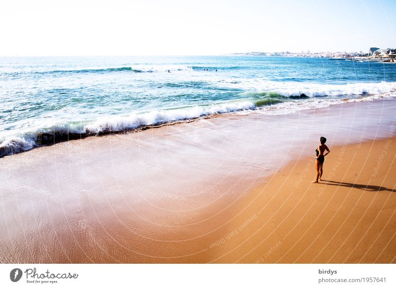 sunbathe Lifestyle Harmonious Vacation & Travel Far-off places Summer vacation Sunbathing Beach Feminine Woman Adults 1 Human being 45 - 60 years Horizon