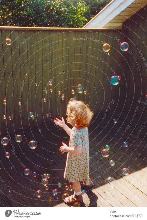 Dialogue with Elves Soap bubble Dream Playing Child Dress Light Wood Girl Colour Sun Reflection Summer