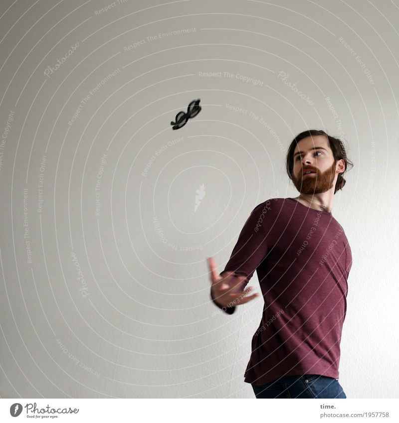 . Masculine Man Adults 1 Human being Artist Acrobatics Juggle Shirt Jeans Eyeglasses Brunette Long-haired Beard Observe Movement Rotate Flying Looking Passion