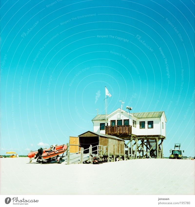 bay watch Vacation & Travel Summer Beach House (Residential Structure) Landscape Sky Cloudless sky North Sea Natural Warmth Blue St. Peter-Ording Pile-dwelling