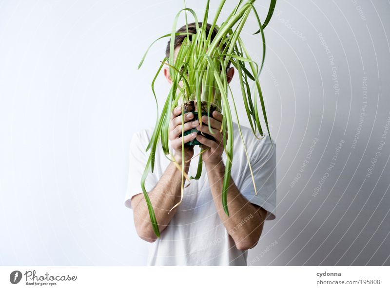 game of hide-and-seek Lifestyle Style Healthy Well-being Human being Man Adults Hand 18 - 30 years Youth (Young adults) Pot plant Mysterious Idea Creativity