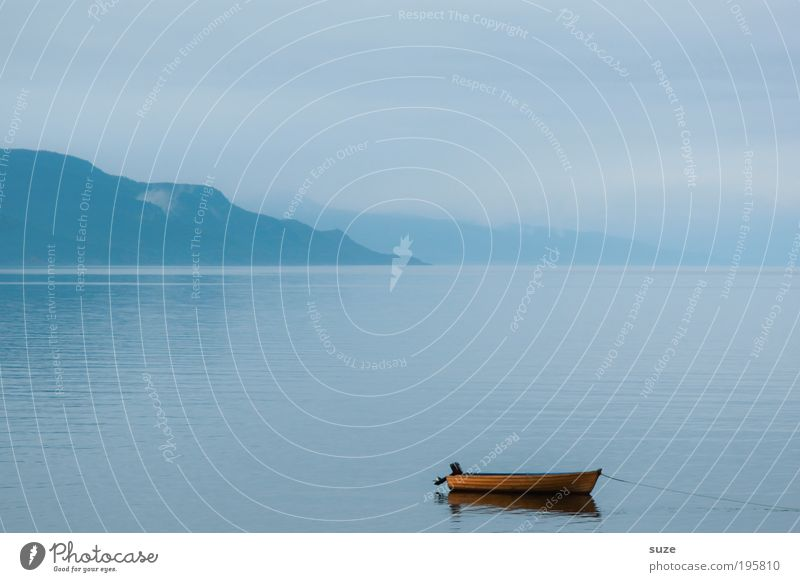 Long morning Well-being Contentment Relaxation Calm Fishing (Angle) Vacation & Travel Tourism Ocean Mountain Environment Nature Landscape Water Sky Fog Rowboat