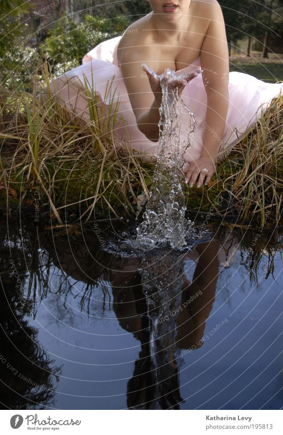 Human being Youth (Young adults) Blue Summer Young woman Water 18 - 30 years Adults Life Spring Grass Feminine Healthy Playing Garden Fashion
