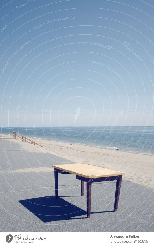 Table at the beach Vacation & Travel Far-off places Freedom Summer Summer vacation Beach Ocean Furniture Sky Cloudless sky Work and employment Write