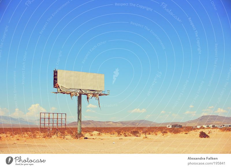 I can't think of a title. Summer Summer vacation Sun Desert Advertising Industry billboard Poster Placard Hill USA Nevada Highway Communicate Dirty Broken