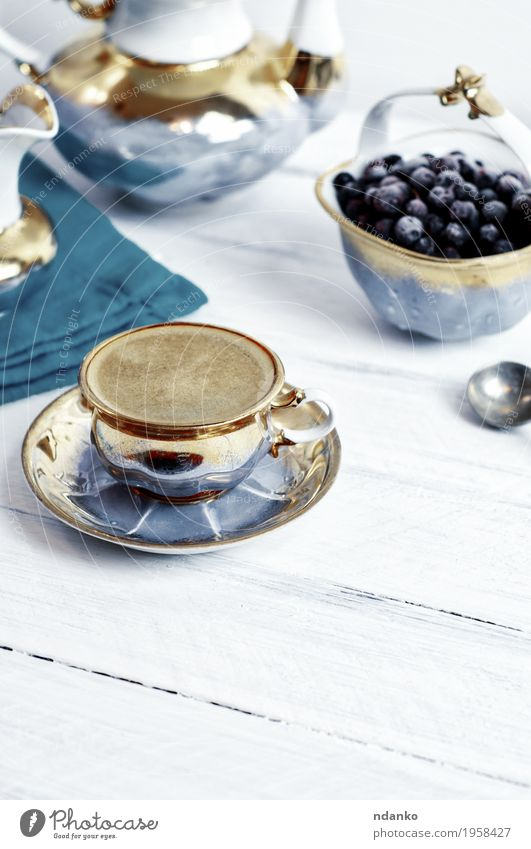 cup of black coffee espresso on a white wooden surface Blue White Eating Wood Above Fruit Fresh Retro Table Beverage Coffee Delicious Hot Breakfast Café Dessert
