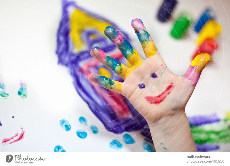 Human being Child Hand Red Joy Yellow Playing Emotions Happy Infancy Leisure and hobbies Happiness Fingers Painting (action, artwork) Sign Creativity