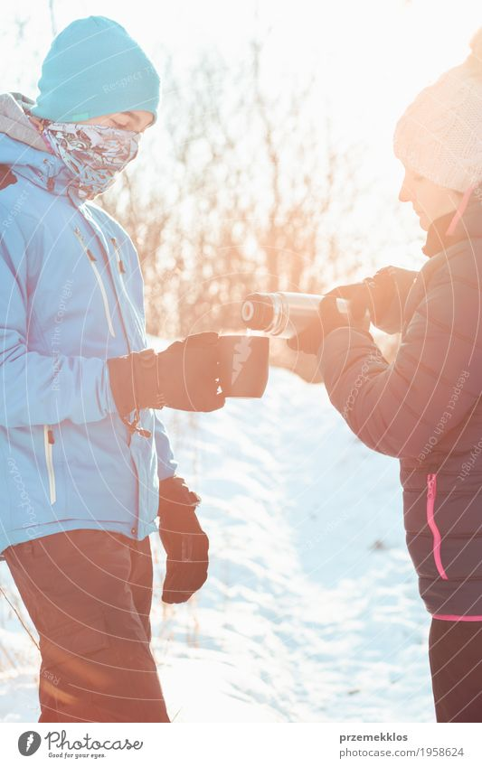 Break for hot drink during the winter trip Human being Child Woman Nature Vacation & Travel Man Blue Joy Winter Forest Adults Lifestyle Snow Boy (child)