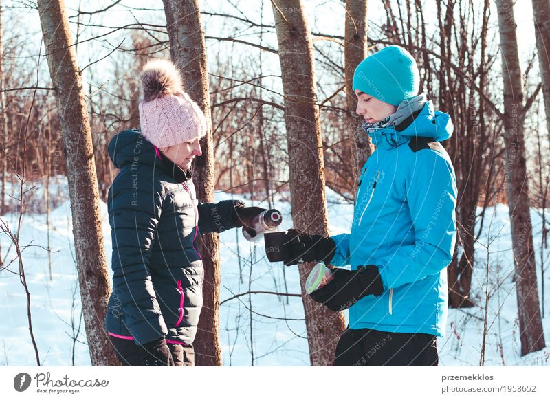 Break for hot drink during the winter trip Human being Woman Nature Vacation & Travel Youth (Young adults) Man Joy Winter Forest Adults Lifestyle Snow