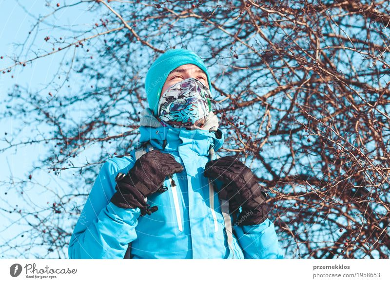 Boy during the trip in the wintertime Human being Nature Vacation & Travel Youth (Young adults) Landscape Loneliness Winter Lifestyle Meadow Sports Boy (child)
