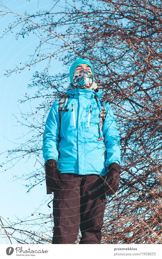 Boy during the trip in the wintertime Human being Nature Vacation & Travel Youth (Young adults) Landscape Loneliness Joy Winter Lifestyle Meadow Sports