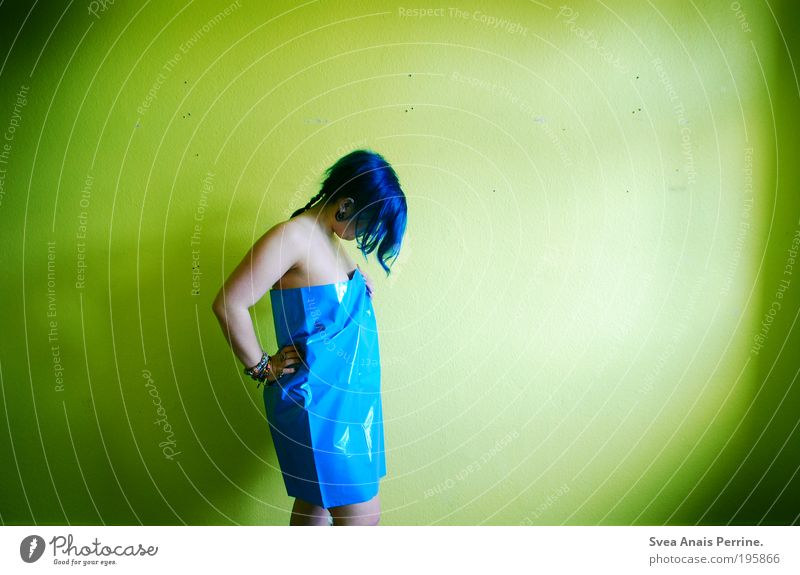 Human being Youth (Young adults) Blue Green Adults Yellow Feminine Wall (building) Hair and hairstyles Wall (barrier) Moody Young woman Flat (apartment) Facade