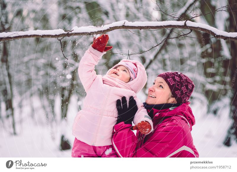 Mother spending time with her children outdoors Lifestyle Joy Happy Vacation & Travel Winter Snow Winter vacation Child Human being Baby Girl Woman Adults