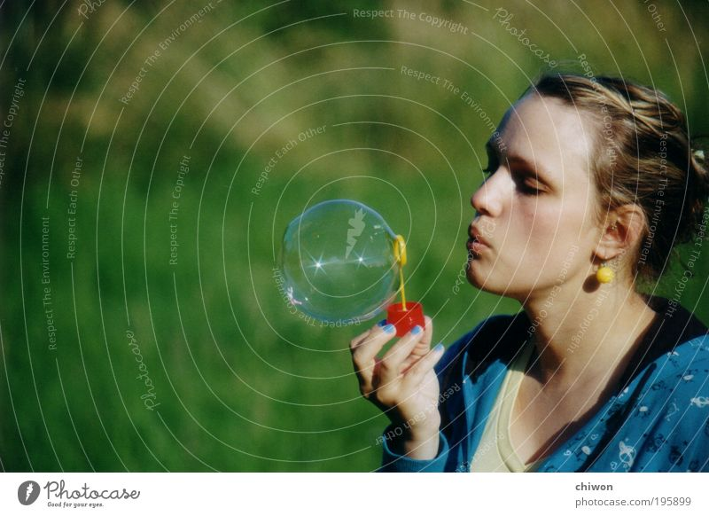 Human being Youth (Young adults) Sun Green Blue Summer Joy Feminine Happy Adults Fresh Happiness Joie de vivre (Vitality) Discover Bubble